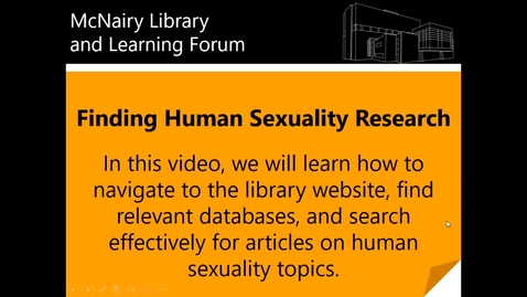Thumbnail for entry Finding Human Sexuality Research