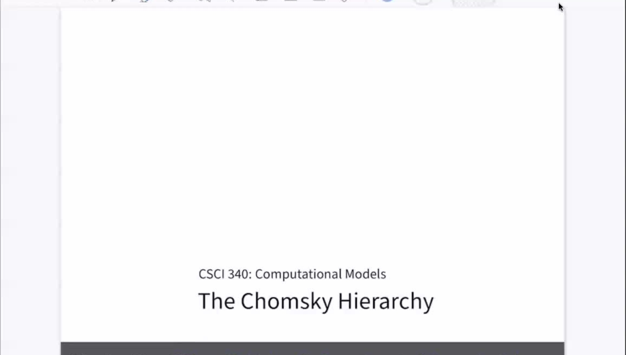 Chapter 24: The Chomsky Hierarchy [Apr 22] [CSCI 340.50A]