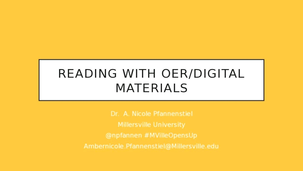 MU Opens Up: Reading with OER/Digital Materials
