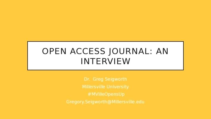 MU Opens Up: Open Access Journal: An Interview - Dr. Greg Seigworth