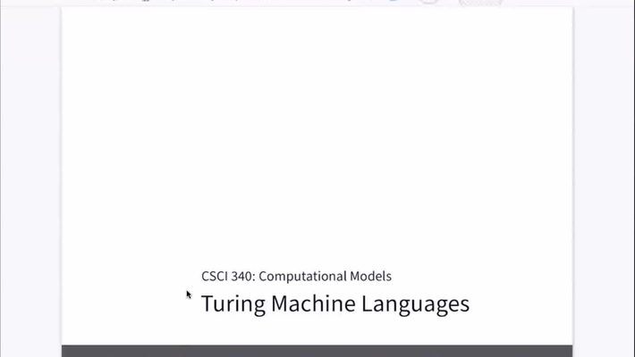 Chapter 23: Turing Machine Languages [Apr 20] [CSCI 340.50]