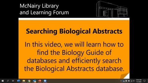 Thumbnail for entry Searching Biological Abstracts