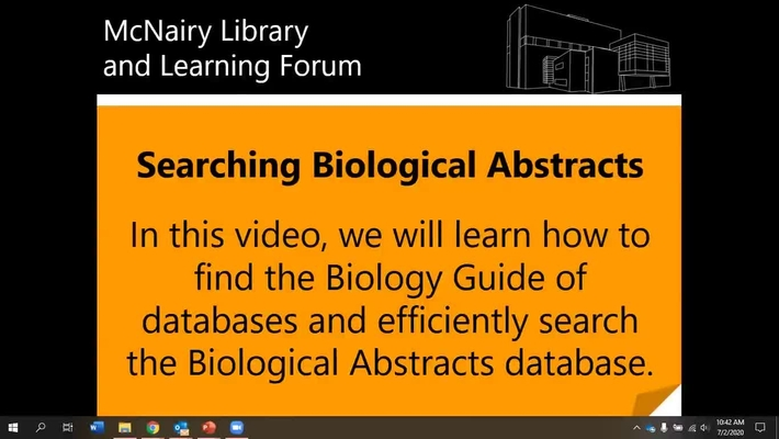 Searching Biological Abstracts