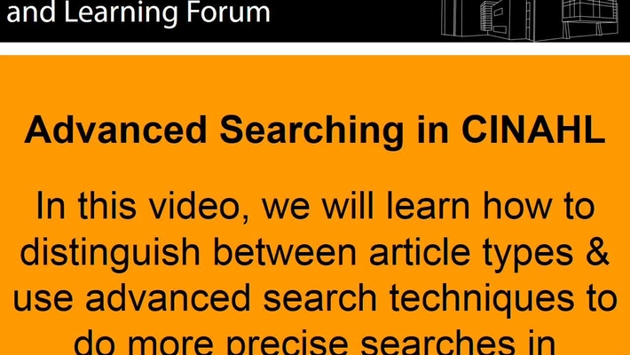 Advanced Searching in CINAHL - June 13th 2019, 12:15:25 pm