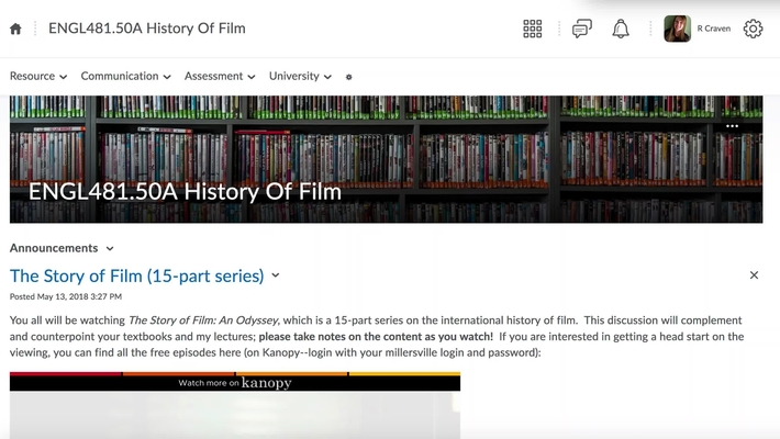 History of Film Website Overview