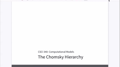 Thumbnail for entry Chapter 24: The Chomsky Hierarchy [Apr 22] [CSCI 340.50]