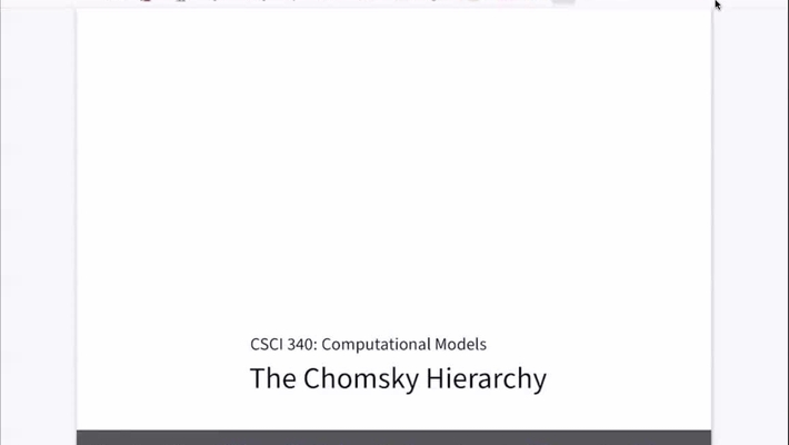 Chapter 24: The Chomsky Hierarchy [Apr 22] [CSCI 340.50]