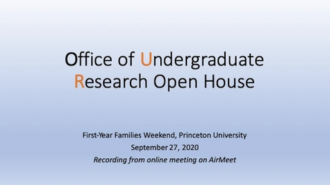 Thumbnail for entry Office of Undergraduate Research Open House