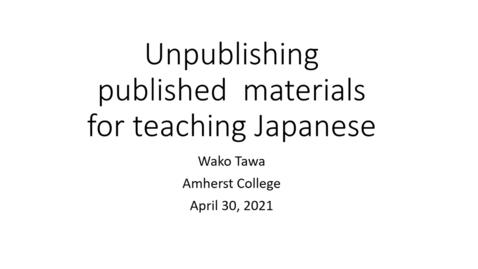 Thumbnail for entry CLTL Symposium 2021 Day 1 Wako Tawa
