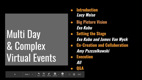 Thumbnail for entry Multi Day and Complex  Virtual Events