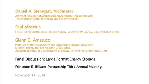 Thumbnail for entry Panel Discussion: Large Format Energy Storage