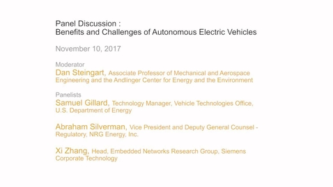 Thumbnail for entry Panel Discussion - Benefits and Challenges of Autonomous Electric Vehicles