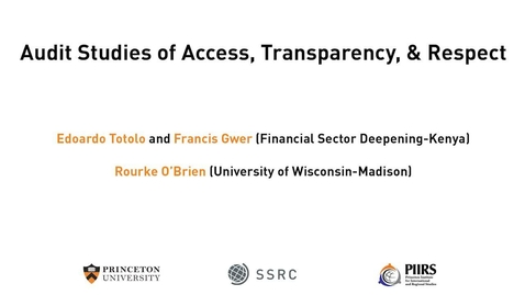 Thumbnail for entry The Dignity & Debt Network Conference - Audit Studies of Access, Transparency, & Respect