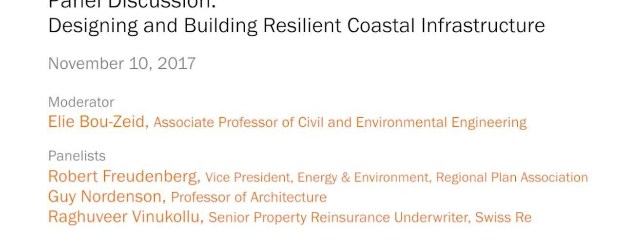 Panel Discussion – Designing and Building Resilient Coastal Infrastructure