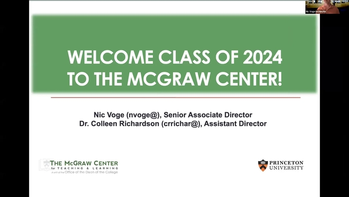 McGraw Orientation Panel: What To Do The First Week & Overview of Services