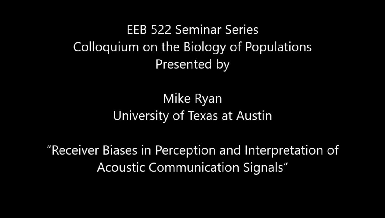 """""""Receiver Biases in Perception and Interpretation of Acoustic Communication Signals"""""""