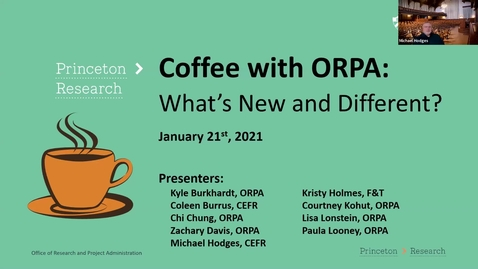 Thumbnail for entry Coffee with ORPA:  What's New and Different 2021