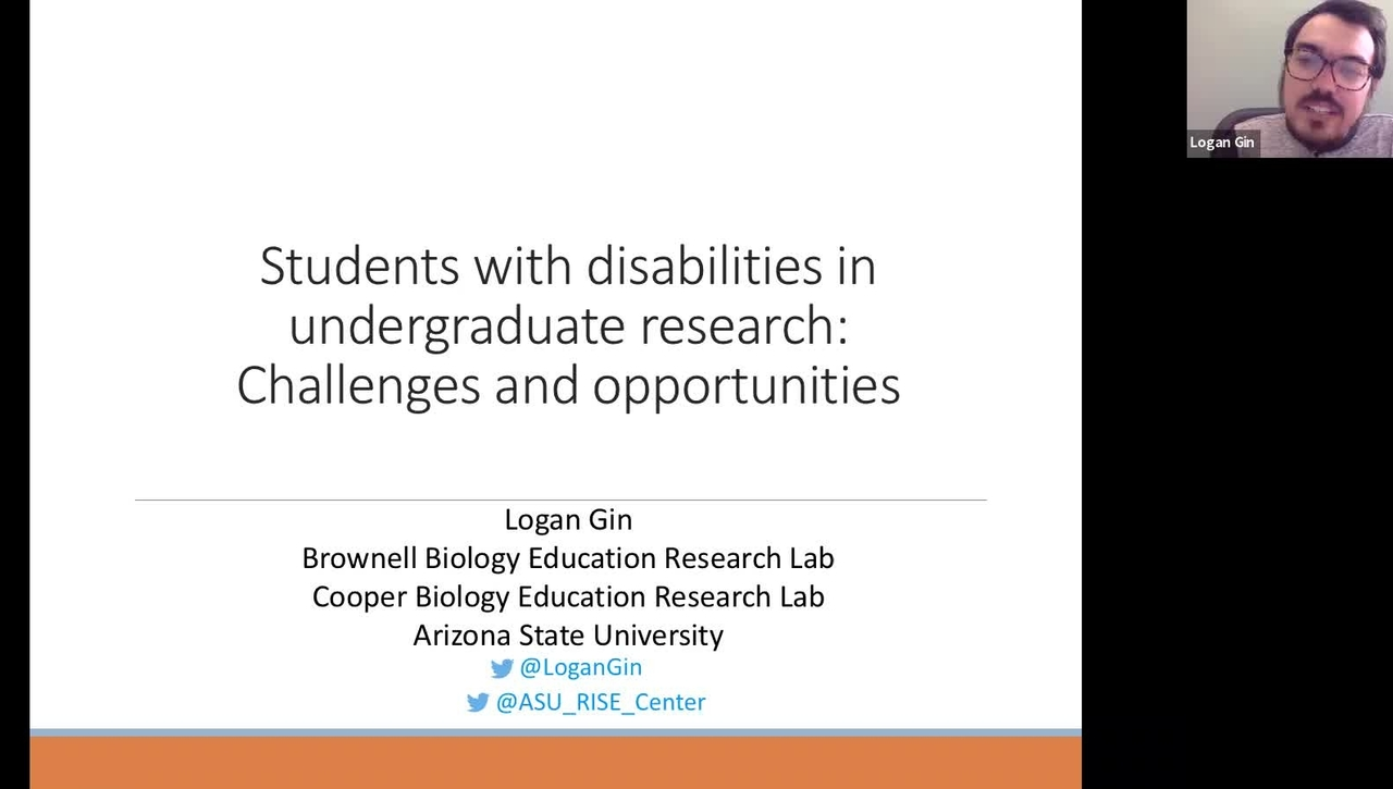 Students with disabilities in undergraduate research: Challenges and opportunities presented by Logan Gin at ISLAND 2021