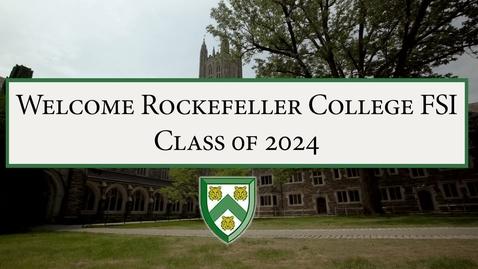 Thumbnail for entry Rockefeller College FSI Welcome