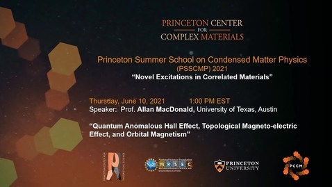 Thumbnail for entry Quantum Anomalous Hall Effect, Topological Magneto-electric Effect and Orbital Magnetism
