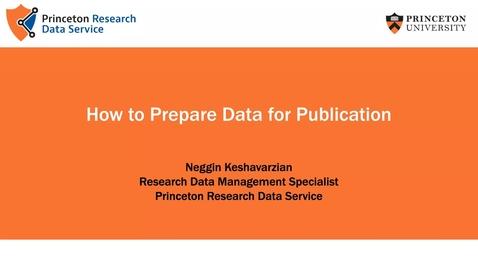 Thumbnail for entry Preparing Data for Publication