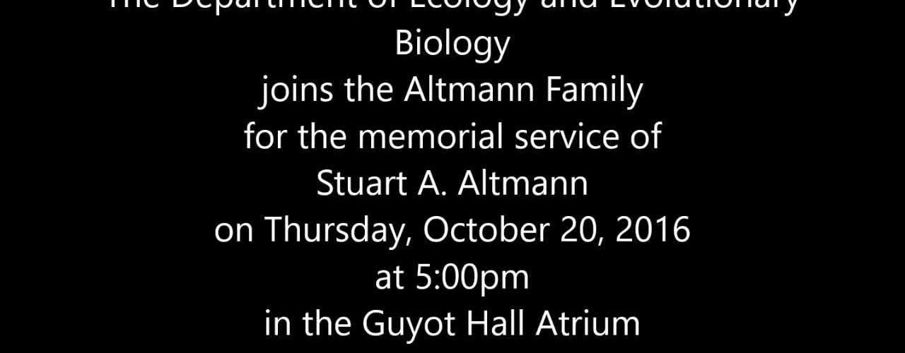 Memorial Service for Stuart A. Altmann
