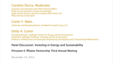 Thumbnail for entry Panel Discussion: Investing in Energy and Sustainability