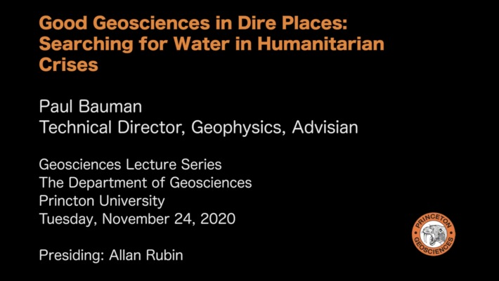 Geosciences Lecture Series: Good Geosciences in Dire Places: Searching for Water in Humanitarian Crises