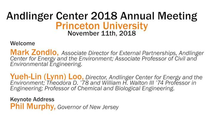 Andlinger Center 2018 Annual Meeting: Welcome & Keynote address (video 1)