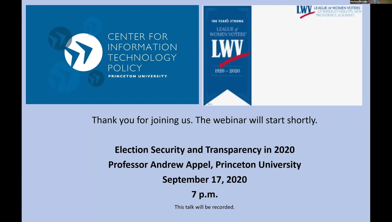 CITP Special Event: Andrew Appel - Election Security and Transparency in 2020