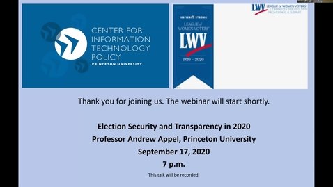 Thumbnail for entry CITP Special Event: Andrew Appel - Election Security and Transparency in 2020