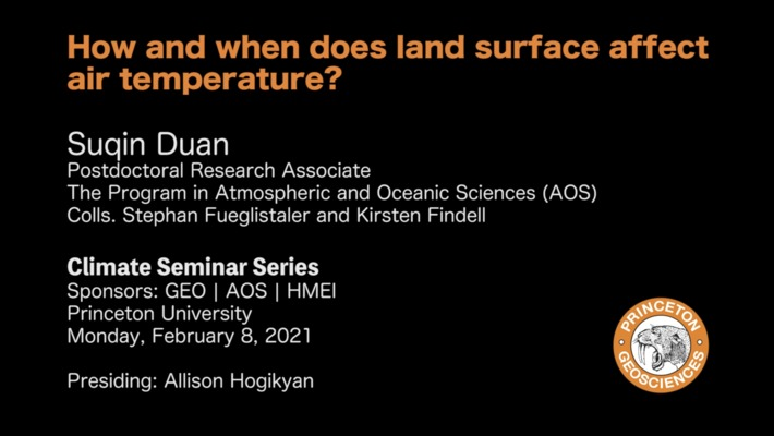 Climate Seminar Series: How and when does land surface affect air temperature?