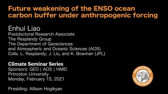 Climate Seminar Series: Future weakening of the ENSO ocean carbon buffer under anthropogenic forcing