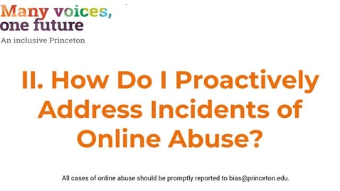 Thumbnail for entry II. How Do I Proactively Address Incidents of Online Abuse?
