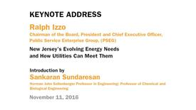 Thumbnail for entry Ralph Izzo - Keynote Address: New Jersey's Evolving Energy Needs and How Utilities Can Meet Them