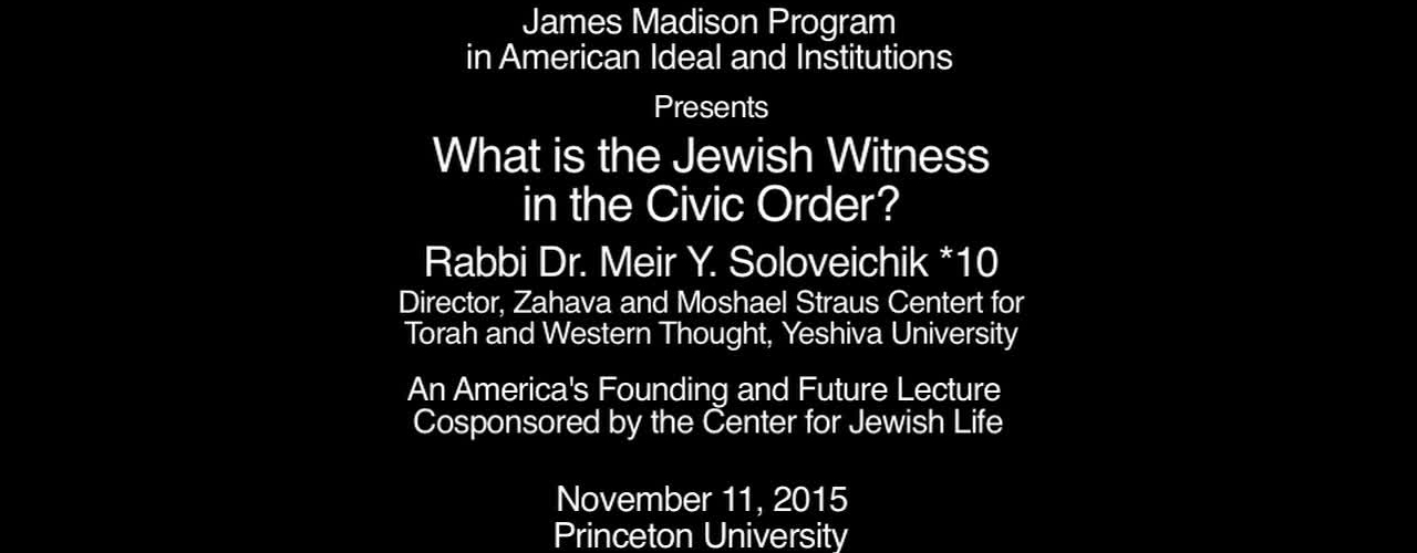 What is the Jewish Witness in the Civic Order?