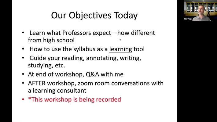McGraw Workshop: September 3: The Princeton Syllabus: How Your Professors Expect You to Use It