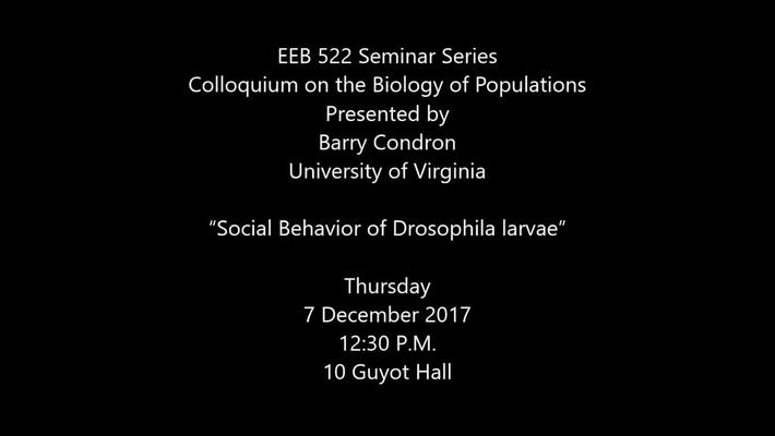 Barry Condron - Social Behavior of Drosophila Larvae