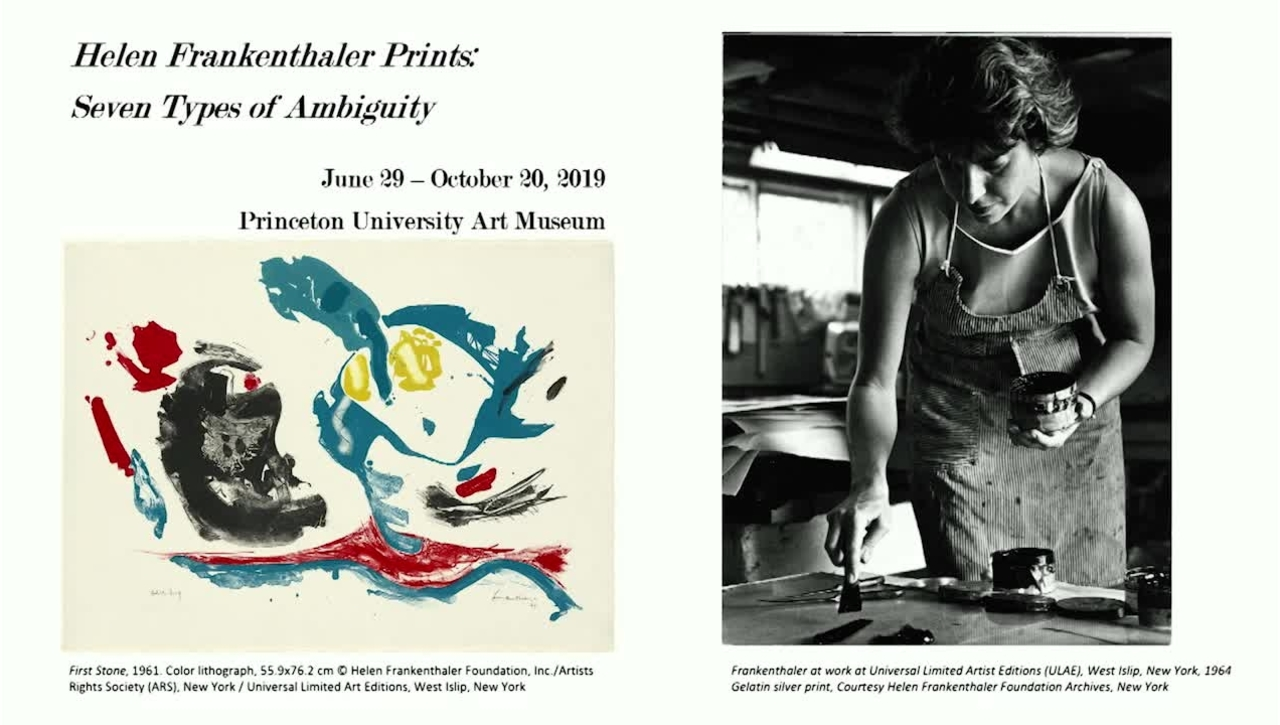 "Carol Armstrong, Professor of the history of art at Yale University - ""Painting Printing Frankenthaler: The Process of Abstraction."""