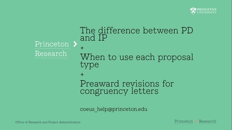 Thumbnail for entry 2.4 Understanding the Difference between PD + IP modules plus Preaward Revision Information