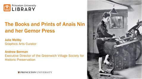 Thumbnail for entry The Books and Prints of Anaïs Nin and her Gemor Press