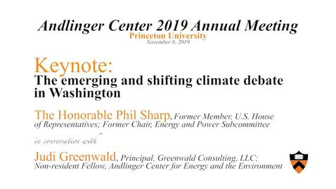 Thumbnail for entry Keynote- The emerging and shifting climate debate in Washington - The Honorable Phil Sharp