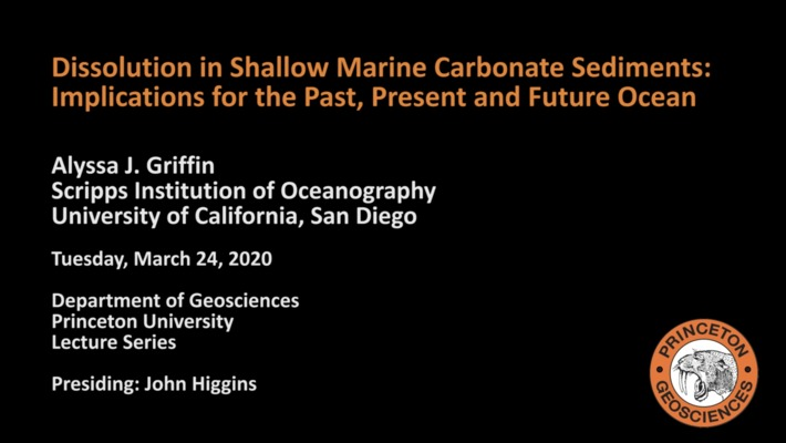 Geosciences Lecture Series: Dissolution in Shallow Marine Carbonate Sediments