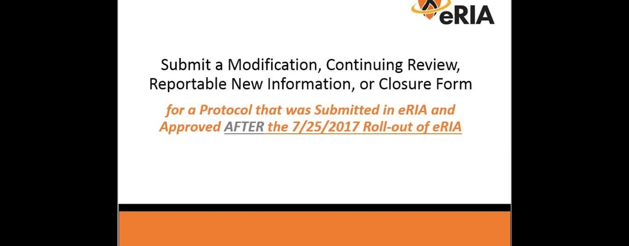 Submit a Modification, Continuing Review, Reportable New Information, or Closure