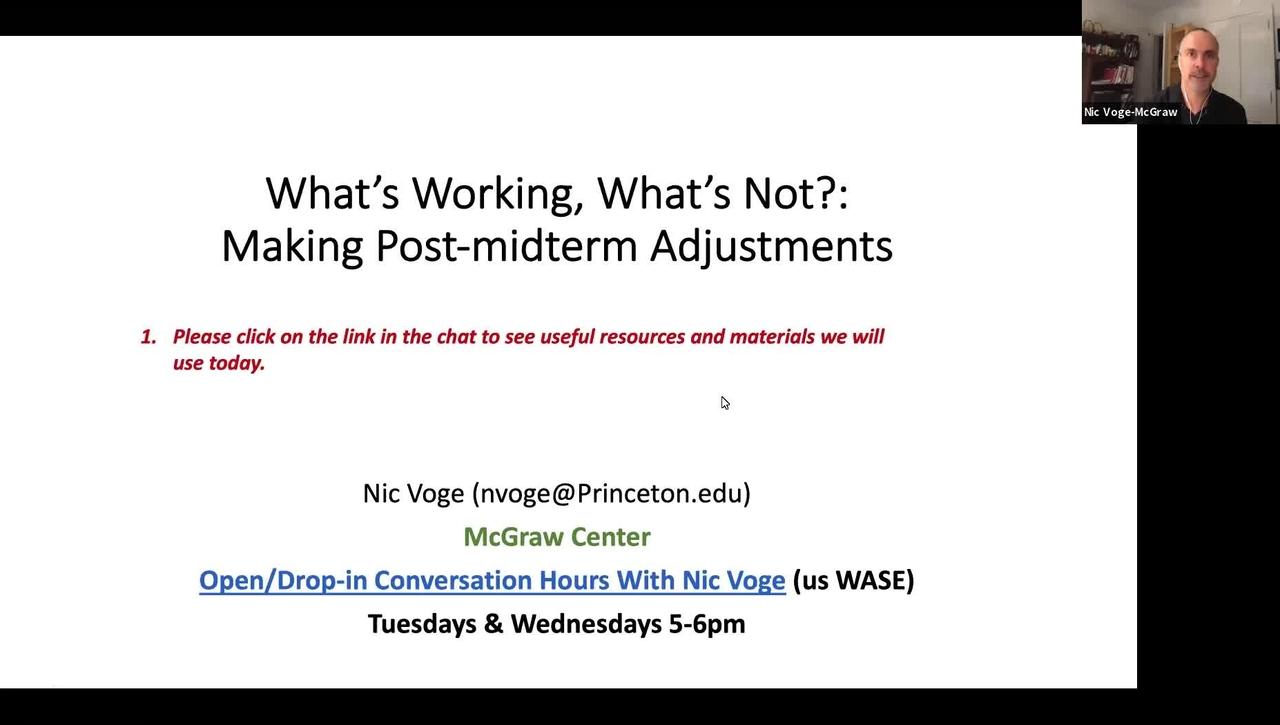 October 28 McGraw Workshop Post-Midterm Adjustments