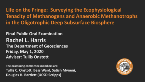 Thumbnail for entry Final Public Oral Examination: Life on the Fringe: Surveying the Ecophysiological Tenacity of Methanogens and Anaerobic Methanotrophs in the Oligotrophic Deep Subsurface Biosphere