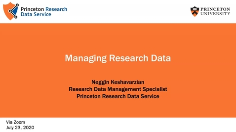 Thumbnail for entry Managing Research Data