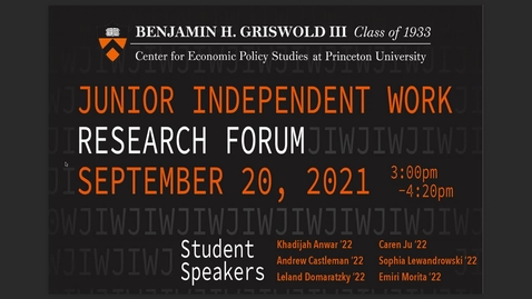 Thumbnail for entry Junior Independent Work Research Forum - September 20, 2021
