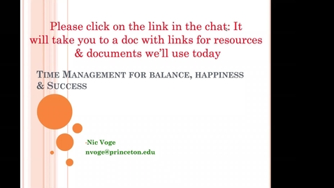 Thumbnail for entry McGraw Workshop October 23 Time Management For Balance & Success