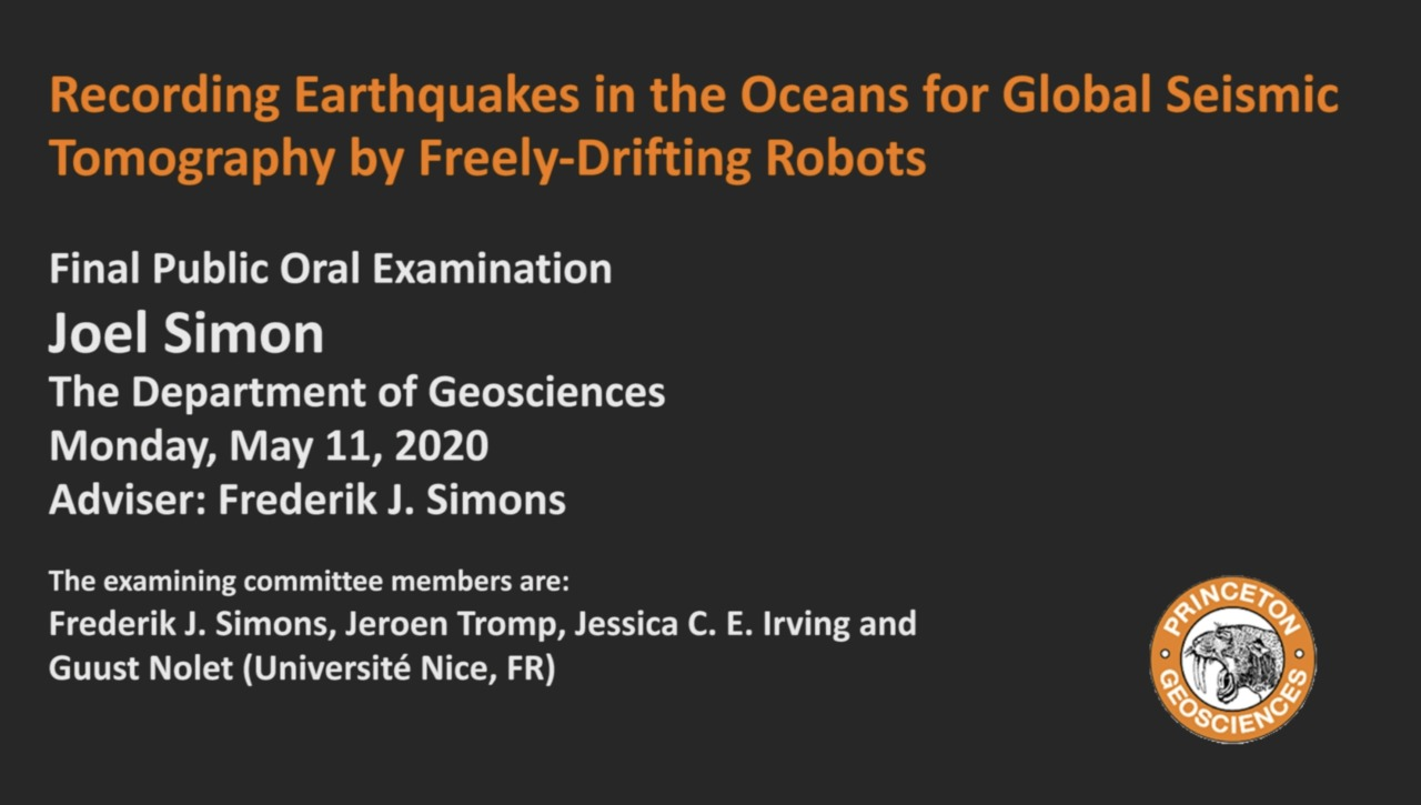 Final Public Oral Examination: Recording Earthquakes in the Oceans for Global Seismic Tomography by Freely-Drifting Robots